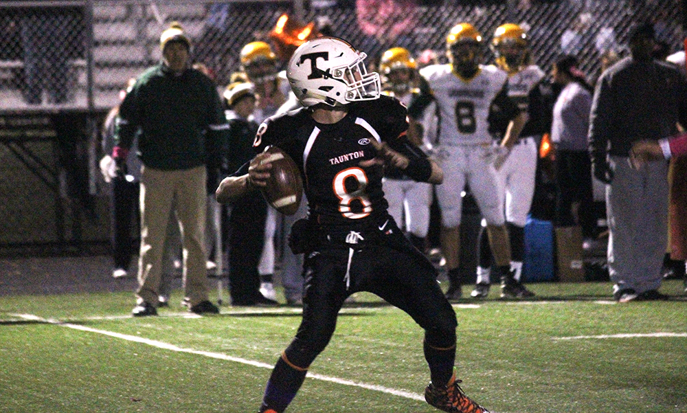 Taunton sophomore Collin Hunter, pictured here against King Philip, tossed two touchdown passes. (Ryan Lanigan/HockomockSports.com)
