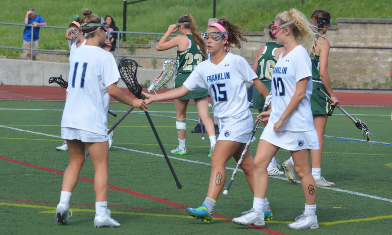 Kenzie Pleshaw (15) led the Franklin girls lacrosse team to its second D1 East final in three years with a win over Feehan. (Josh Perry/HockomockSports.com)