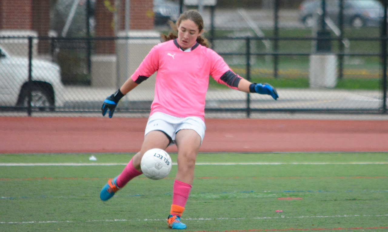 Junior keeper Cat Robbins stopped a pair of breakaways in the second half to preserve a clean sheet and a point for Franklin against NDA. (Josh Perry/HockomockSports.com)