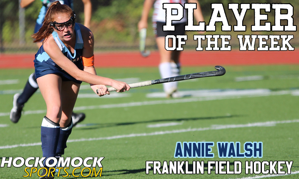 Franklin sophomore Annie Walsh has been selected as the HockomockSports.com Player of the Week for October 16th through October 22nd; the seventh player chosen for the 2016-2017 season. Walsh had a tremendous week, helping the Panthers win three games and get within one point of the division lead with a week to go.