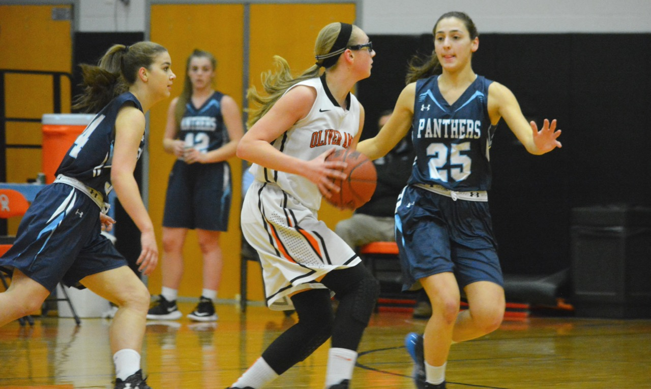 Kate Morse (25) scored 10 points and pulled down five rebounds, one of nine Franklin players with at least a point, to help the Panthers extend their win streak to five games. (Josh Perry/HockomockSports.com)