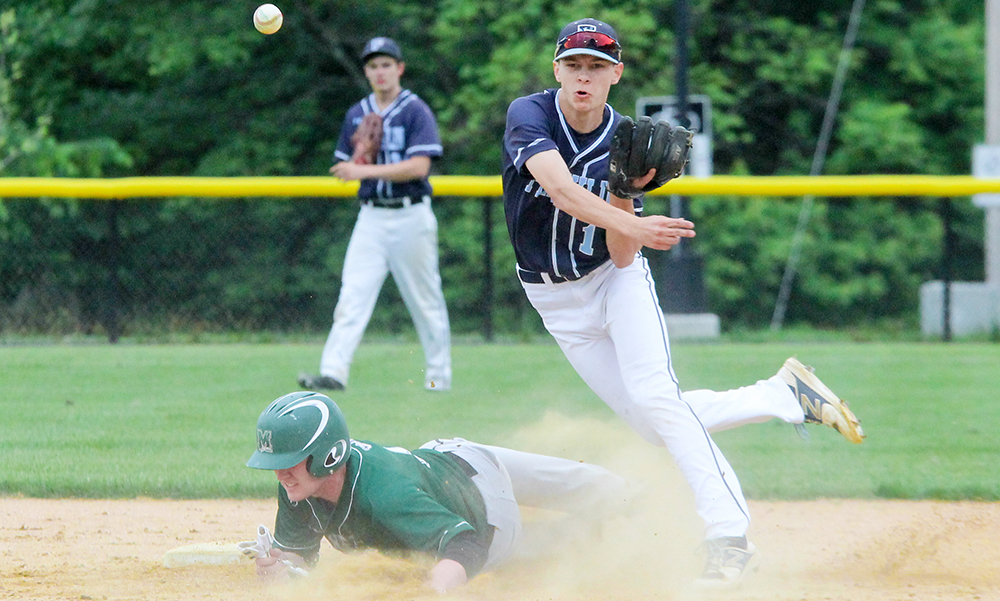 Franklin's Alex Haba throws to first after forcing a Marshfield runner out at second. (Ryan Lanigan/HockomockSports.com)