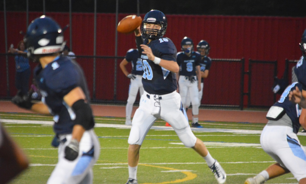 Franklin senior Jake Noviello threw three touchdown passes, as the Panthers outscored Milford 21-0 in the second half to pull out their first win of the season. (Josh Perry/HockomockSports.com)