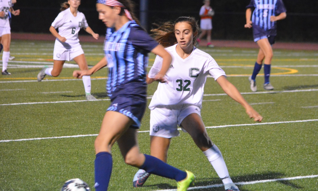 Canton freshman Elisa Diletizia (32) had a goal and an assist in the 4-1 win over Franklin. (Josh Perry/HockomockSports.com)