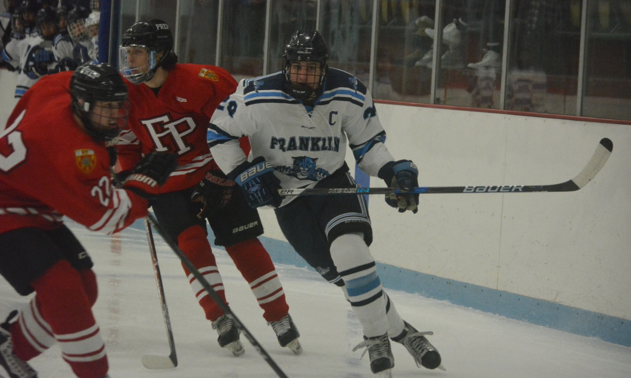 Franklin senior forward Brendan O'Rielly scored a pair of goals in regulation, but Fairfield Prep (Conn.) scored with three minutes left in the second overtime to win the championship at the MSC Holiday Face-Off. (Josh Perry/HockomockSports.com)
