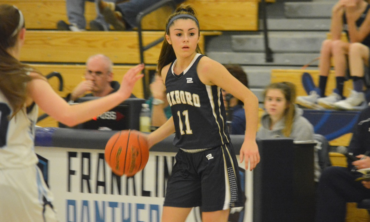 Foxboro freshman Katelyn Mollica scored 18 points and dished out three assists to help the Warriors earn a big win on the road at Franklin. (Josh Perry/HockomockSports.com)