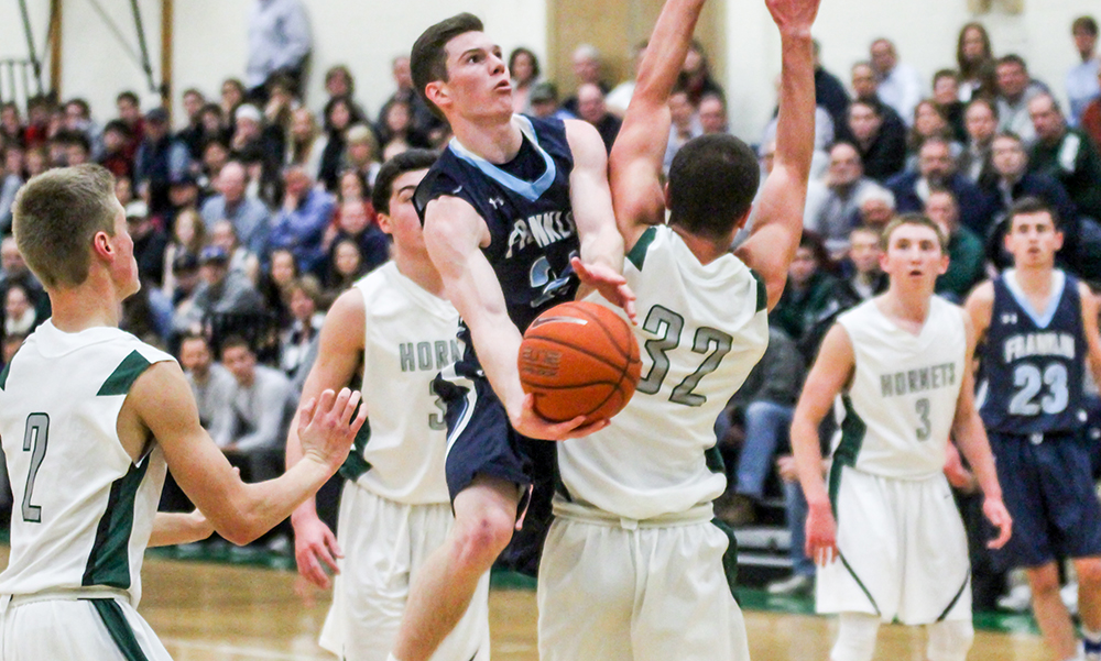 Franklin vs. Mansfield basketball action (HockomockSports photo)