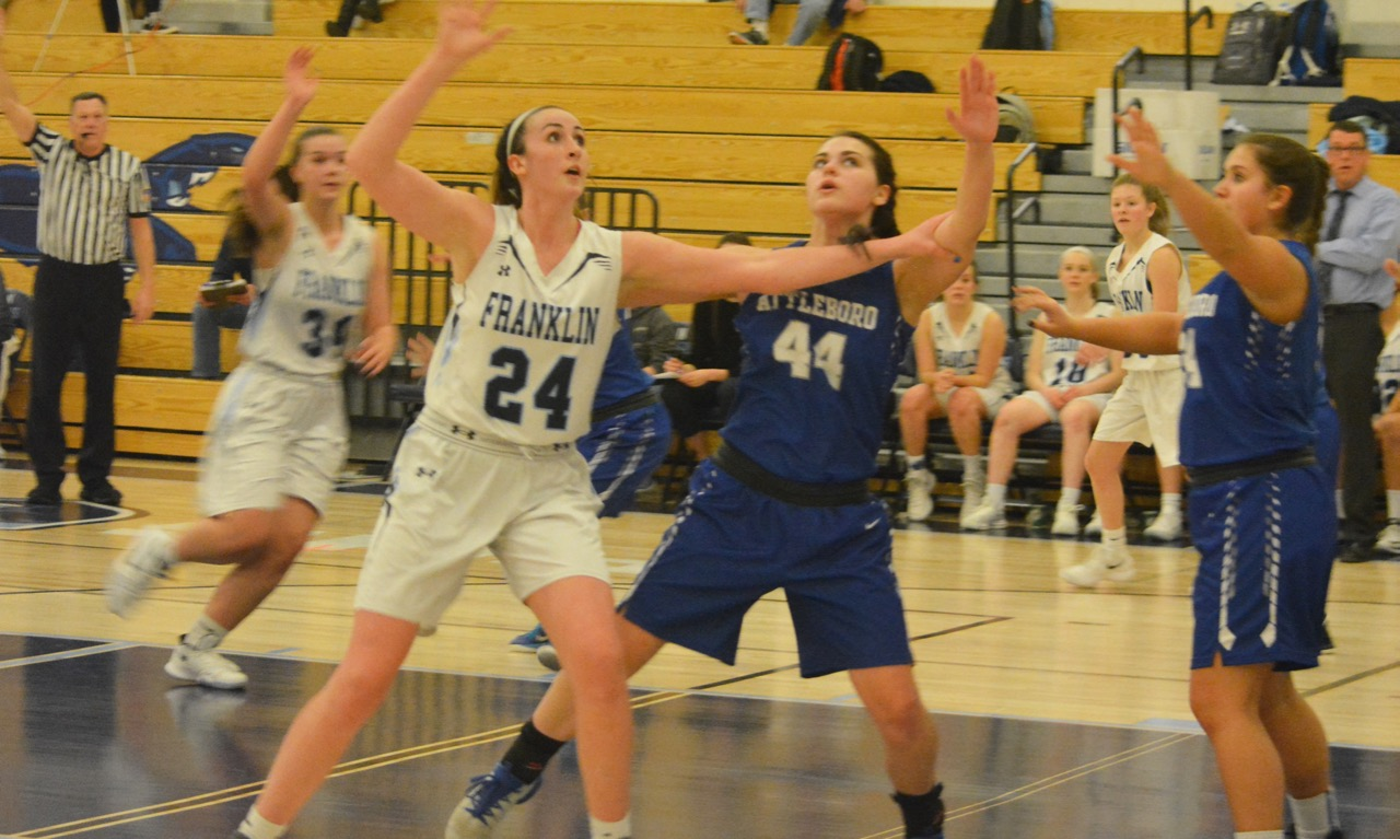 Franklin sophomore center Ali Brigham scored 22 points (16 in the first half) and pulled down 20 rebounds to lift the Panthers to a 63-51 victory over Attleboro. (Josh Perry/HockomockSports.com)