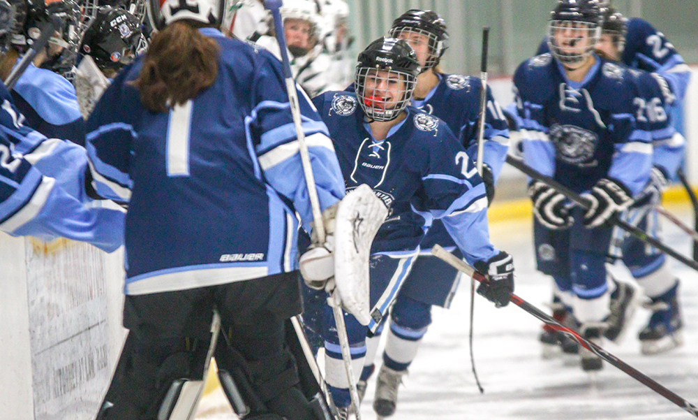 Franklin's Jordan Dwyer celebrates with her teammates following her third period goal. (Ryan Lanigan/HockomockSports.com)