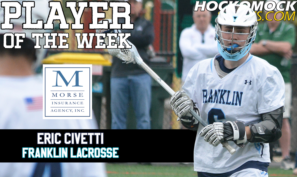 Franklin senior Eric Civetti has been selected as the HockomockSports.com Player of the Week, presented by Morse Insurance