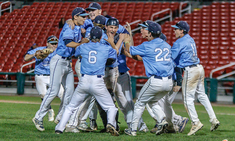 Franklin players celebrate after recording the final out to beat Central Catholic and advance to the Super 8 Final. (Ryan Lanigan/HockomockSports.com)