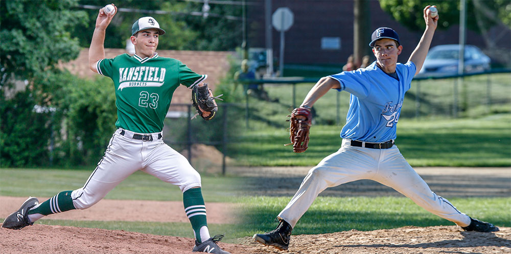 Mansfield's Tyler Dalton (left) and Franklin's Jason Ulrickson will be key pitchers for their respective teams. (Ryan Lanigan/HockomockSports.com)