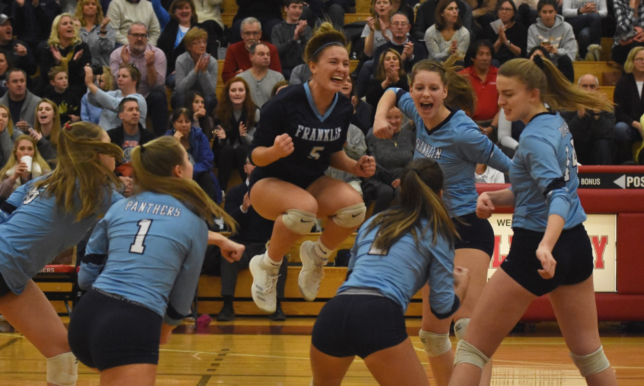Libero Riley Marino (5) jumps for joy after a Franklin point during the D1 Central/West final at Wellesley High. (Josh Perry/HockomockSports.com)