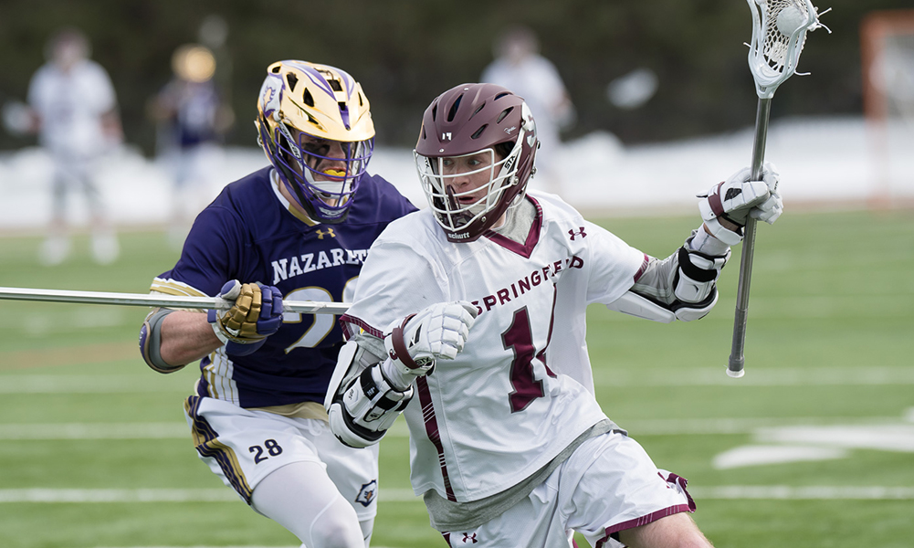 Former Franklin standout and HockomockSports.com Player of the Year Jack Vail (14) is looking to follow up an all-NEWMAC season with a strong senior campaign at Springfield College. (Springfield College Athletics)