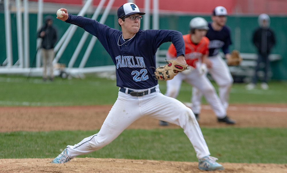 Franklin's Will Pacheco earned the save, getting the final three outs while stranding the tying run at first. (Ryan Lanigan/HockomockSports.com)