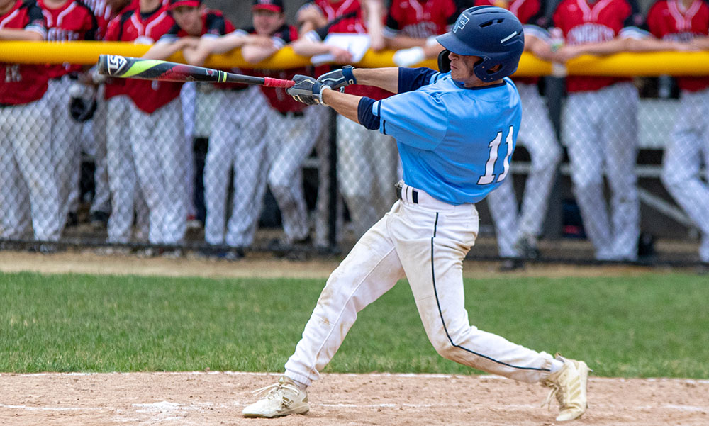 Franklin's Joe Lizotte (3-for-4) connects for a hit in the fifth inning against North Andover. (Ryan Lanigan/HockomockSports.com)