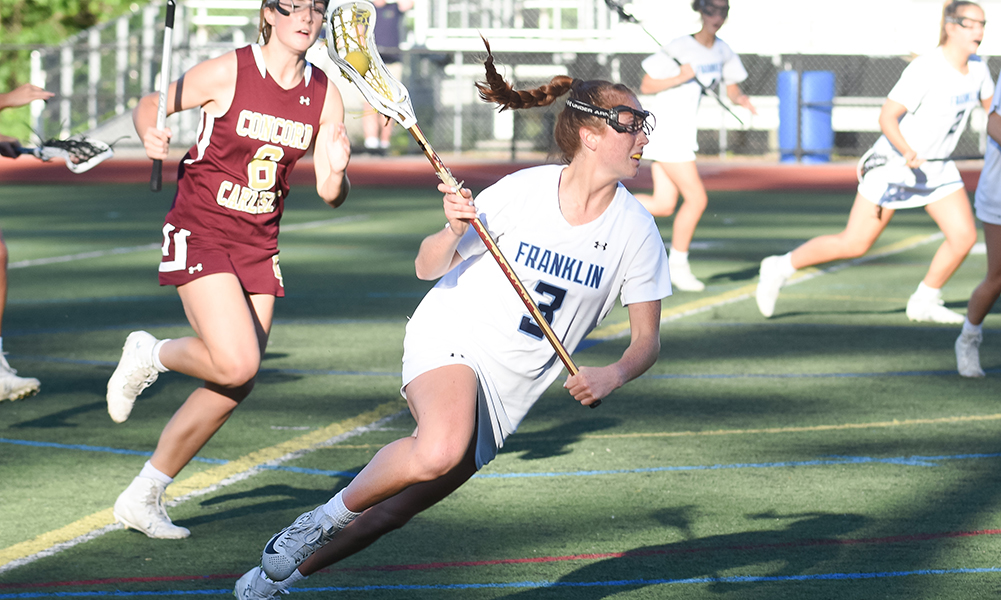 Franklin senior Annie Walsh was held to two goals in the Div. 1 East semifinal against Concord-Carlisle, which beat the Panthers at the same stage for the second straight season. (Josh Perry/HockomockSports.com)
